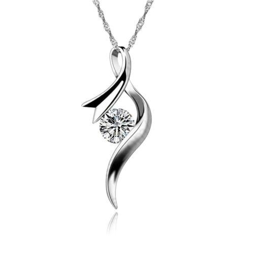 925 plata chapados elegante señora collar Dangle Collier con circonita nuevo