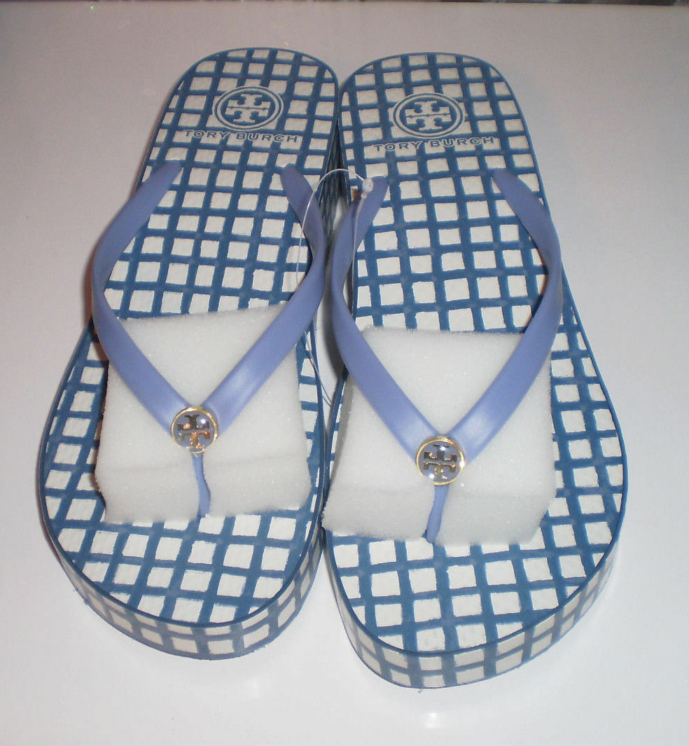 New TORY BURCH Light Haven Canvas Plaid bleu blanc Wedge Flip Flops Sandals 10