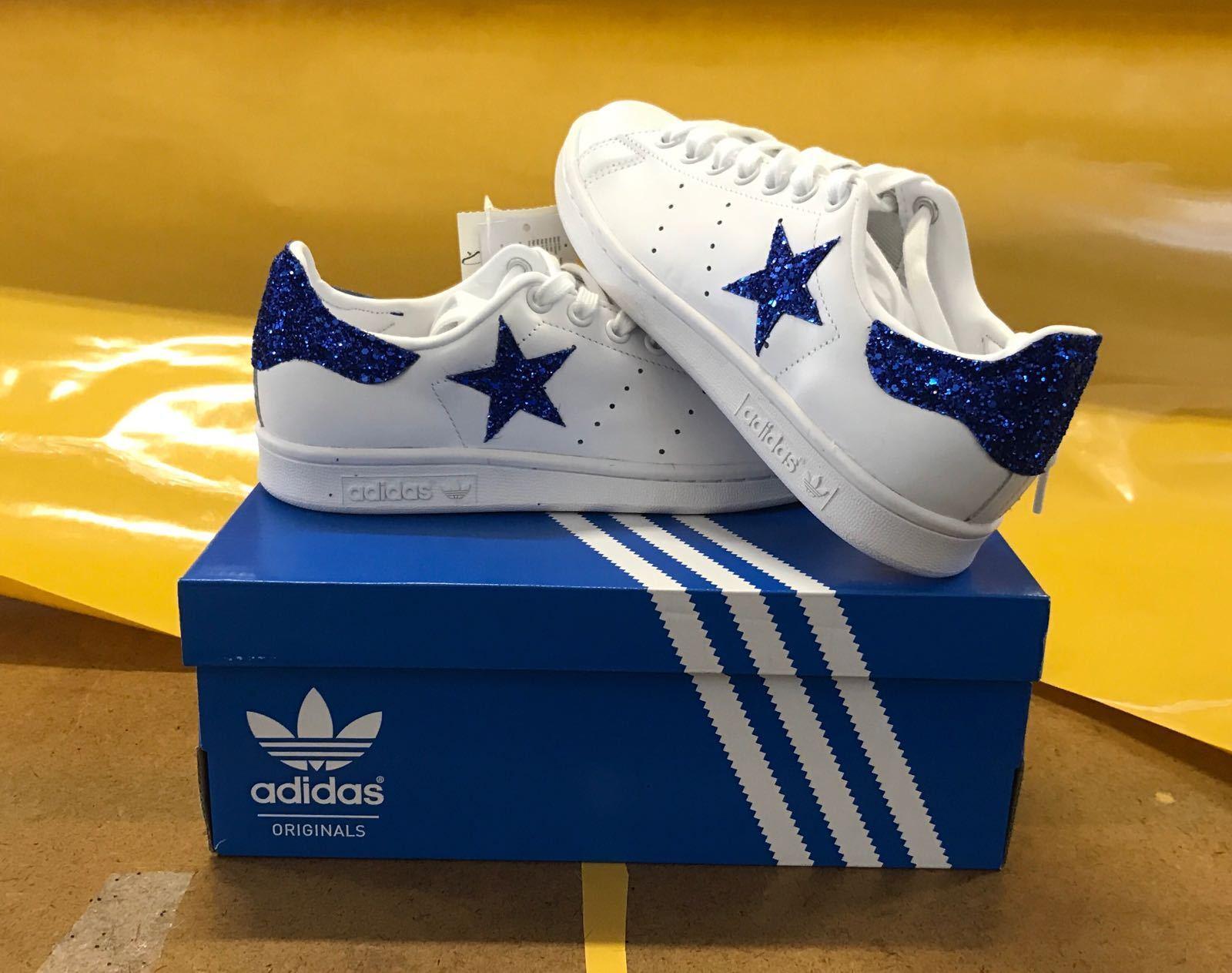 shoes adidas stan smith con glitter blue elettrico