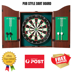 Pub Style Dartboard In Wooden Cabinet Score Board 2 X Set Darts