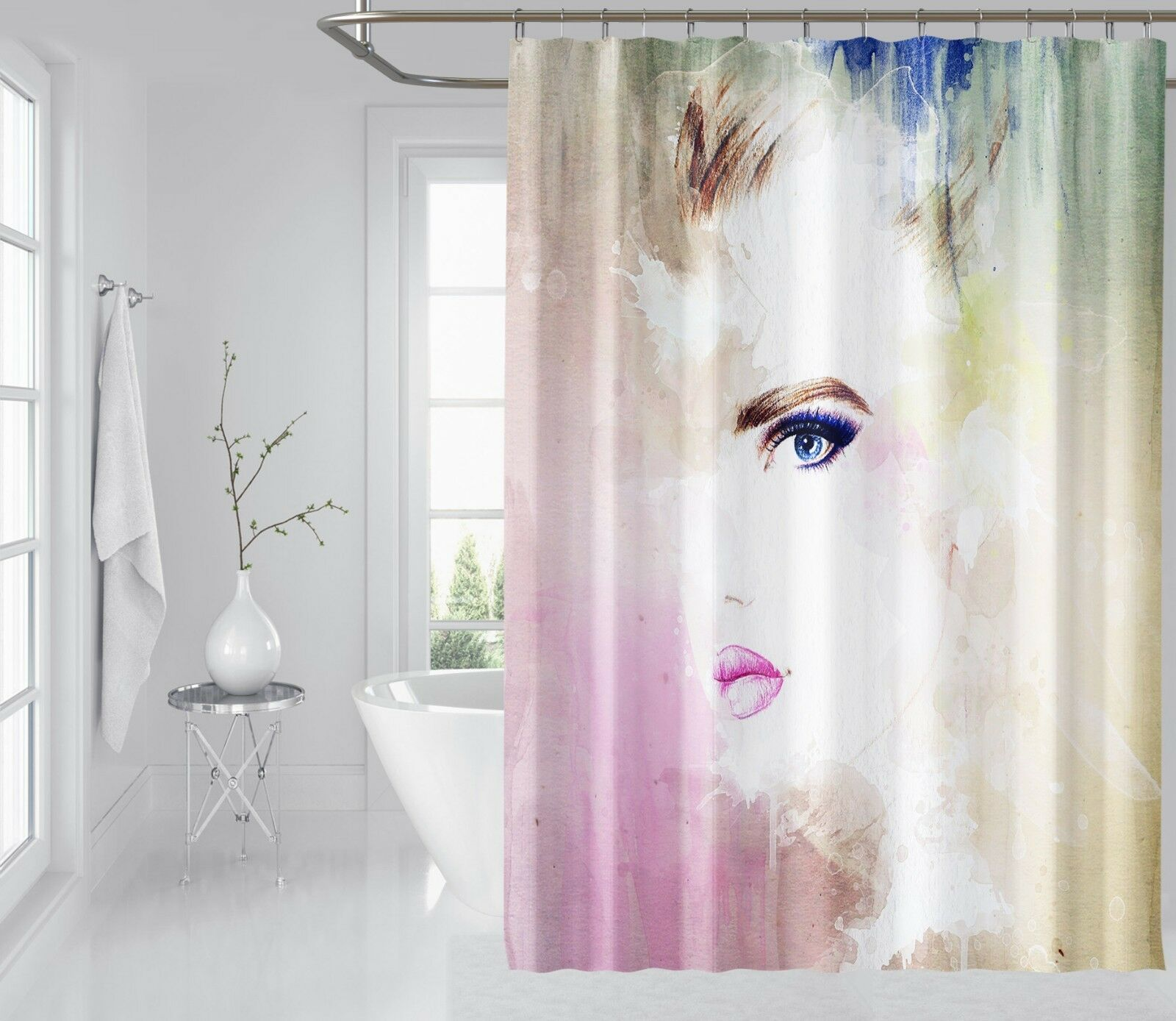 3D Rosa Girl Face 65 Shower Curtain Waterproof Fiber Bathroom Windows Toilet 95a35c