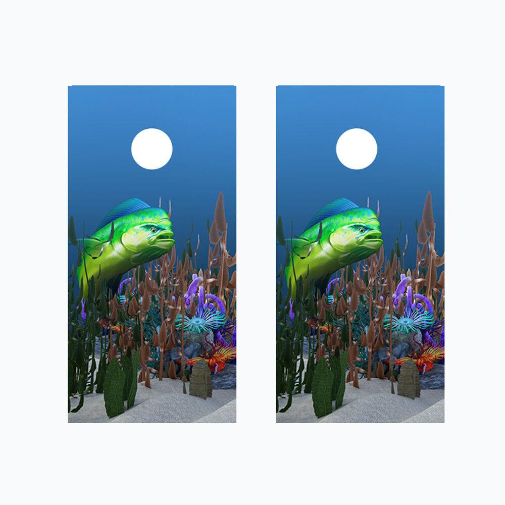 Cornhole Board Wraps 2 Vinyl Decals Mahi Mahi Dolphinfish Ocean Sea theme 01R