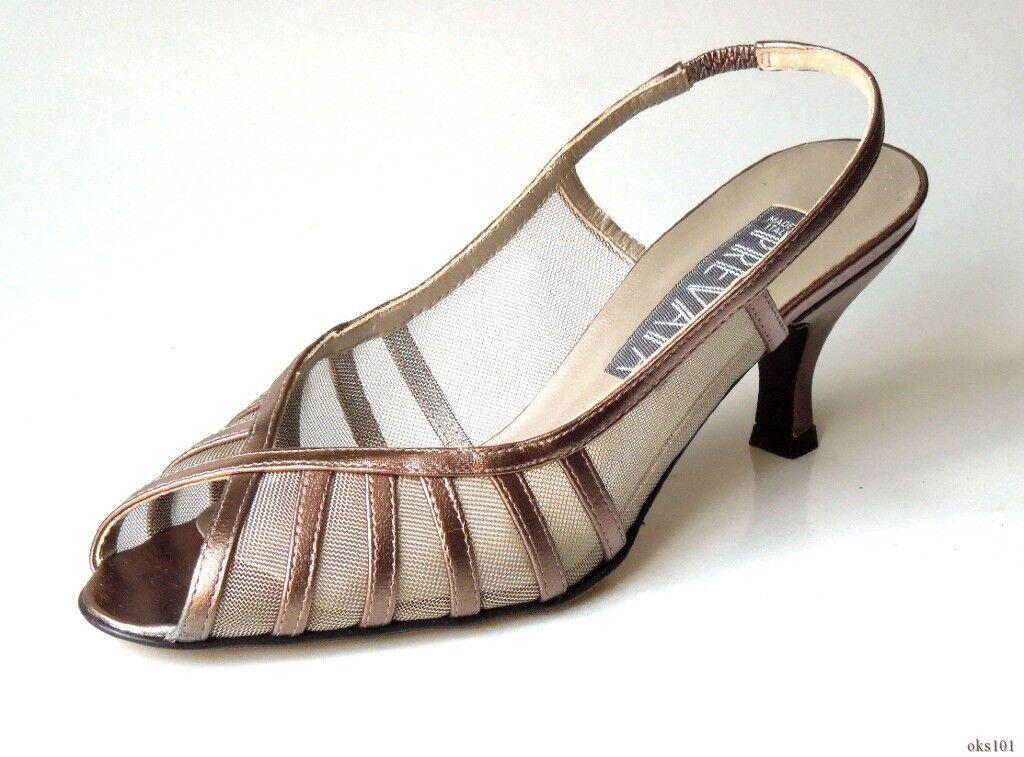 New  325 PREVATA 'Velma' pewter leather mesh open-toe slingbacks schuhe -
