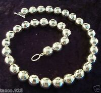 TAXCO MEXICAN STERLING SILVER HAMMERED BEADED BEAD NECKLACE MEXICO