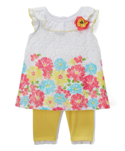 NWT Nannette Baby Girls Floral White Lace Tunic Yellow Leggings Outfit Set