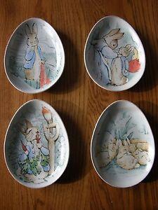 Set 4 Pottery Barn Kids Peter Rabbit Easter Ceramic Plate