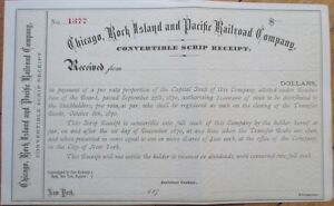 1870-Stock-Scrip-Certificate-039-Chicago-Rock-Island-amp-Pacific-Railroad-Company-039