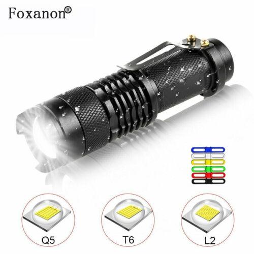 LED Flashlight Q5 T6 L2 Mini Portable Torch Adjustable Zoom Flash Light Lamp