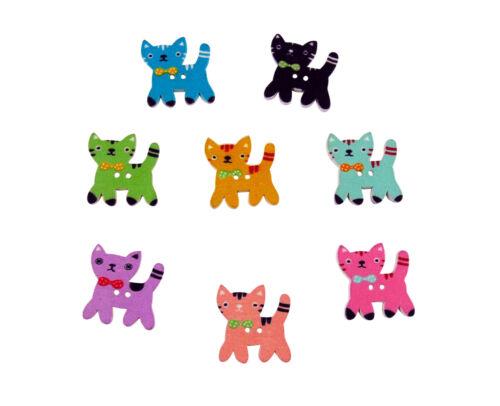 Carte Toppers embellissements 50 X en bois 25 mm chat avec nœud boutons-Artisanat
