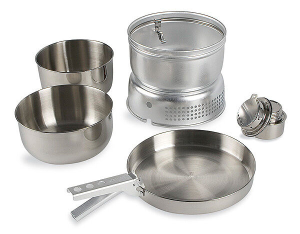 TATONKA 4010 MULTI SET STAINLESS STEEL COOKWARE WITH BURNER & WIND SHIELD