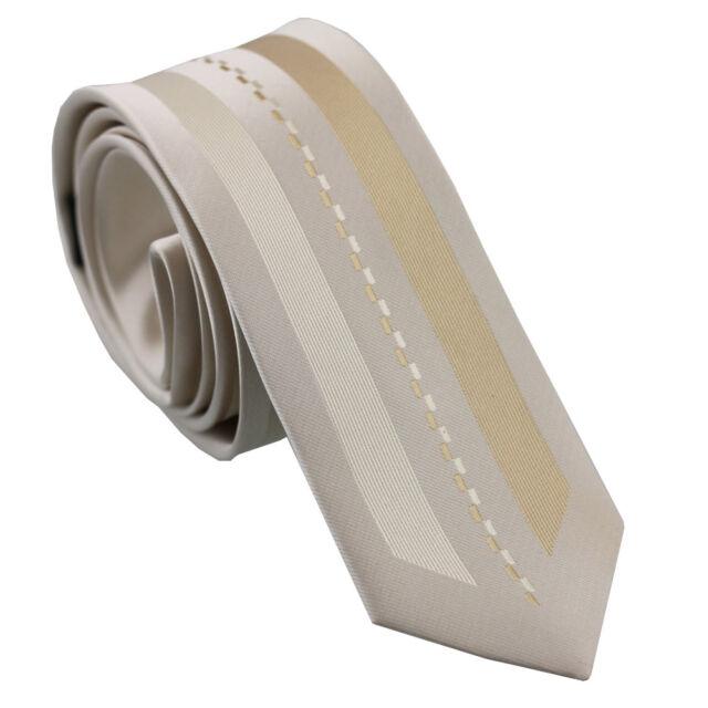 Coachella Ties Beige With Khaki Stripes Microfiber Woven Necktie Skinny Tie 6cm