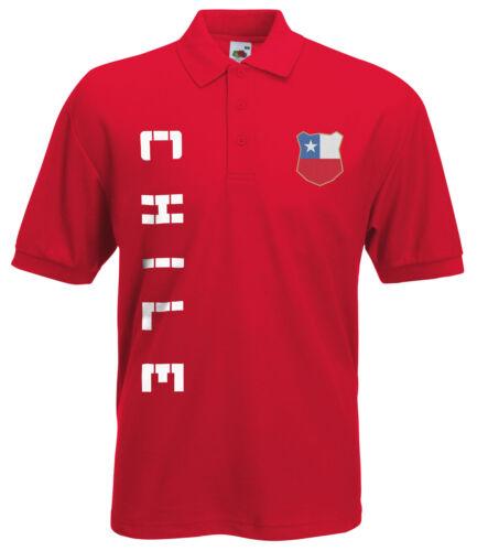 Chile Polo-Shirt Trikot mit Name /& Nummer S M L XL XXL