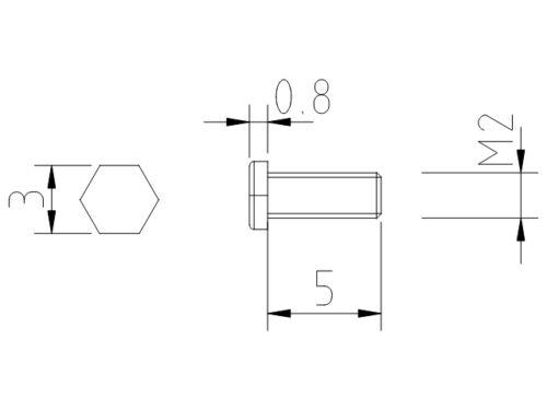 SK20500ST Dingler Schrauben Außensechskant Stahl M2x5mm 100 Stück
