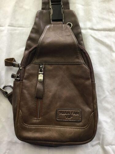 Men's Genuine Leather Crossbody Sling Bag,Chest ba