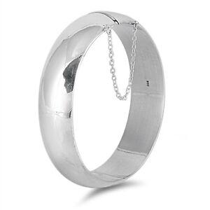 925-Sterling-Silver-Hinged-Oval-Bangle-Bracelet-18-X-60-X-65-mm