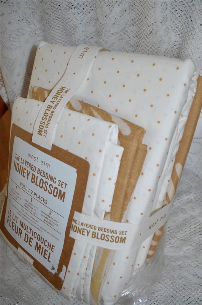 West Elm HONEY BLOSSOM 7 Pc Bedding Set  Duvet Cover + Sheet Set  Full Size