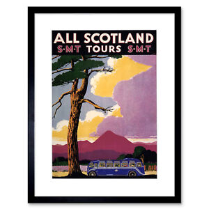 Travel-Scotland-Bus-Scenery-Tree-Framed-Art-Print-Picture-Mount-12x16-Inch