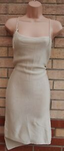 BABYMILK-CREAM-STRAPPY-ASYMMETRICAL-KNIT-JUMPER-SLIP-TUNIC-SEXY-DRESS-XS-S