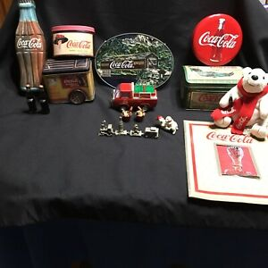 Coca-Cola-Collectibles-Train-Tins-Bears-Bottles-Book-Drink-Bucket-Lot-of-15