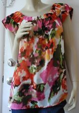 SUNNY LEIGH Blouse Size XL Painterly Watercolor Cap Sleeve Silky Top Colorful