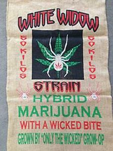 WHITE WIDOW STRAIN BURLAP BAG 018 marijuana spider bags sack pot leaf strains