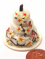 1:12 White Yellow & Brown 3 Tier Wedding Cake Dolls House Miniature Accessory ZM