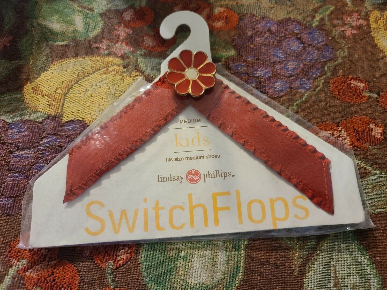 Lindsay Phillips Switchflops Straps Maroon With Maroon Flower. Size Medium
