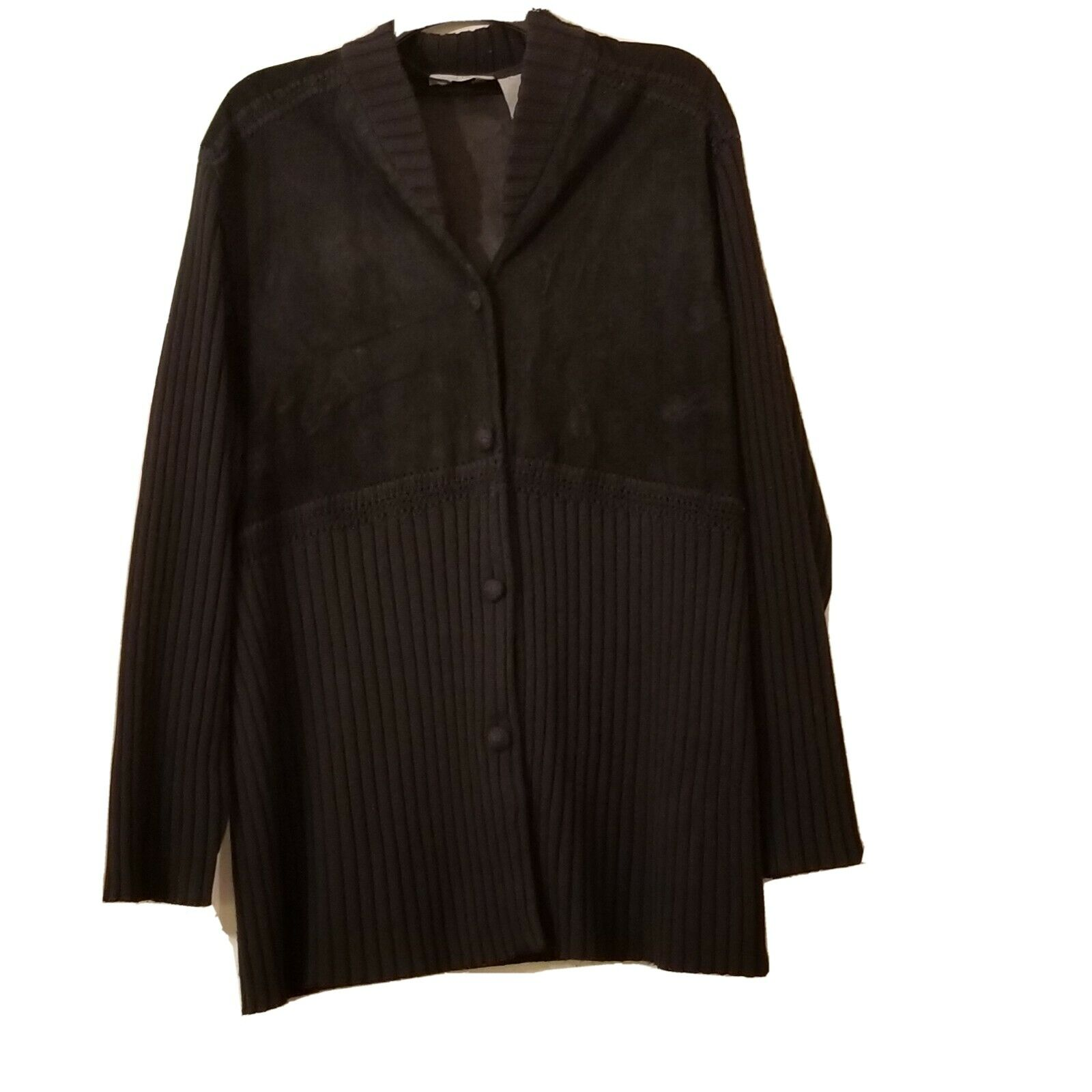 J Jill Cardigan  Wool/suede Leather Blend Woven L… - image 4