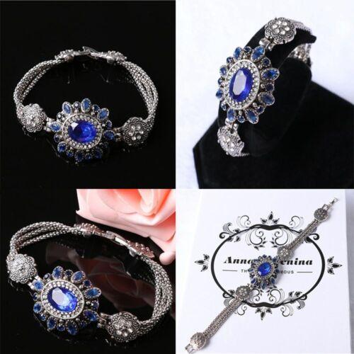Bohemia Blooming Fleur Bleu Thai Argent Cristal Strass Bracelets Party
