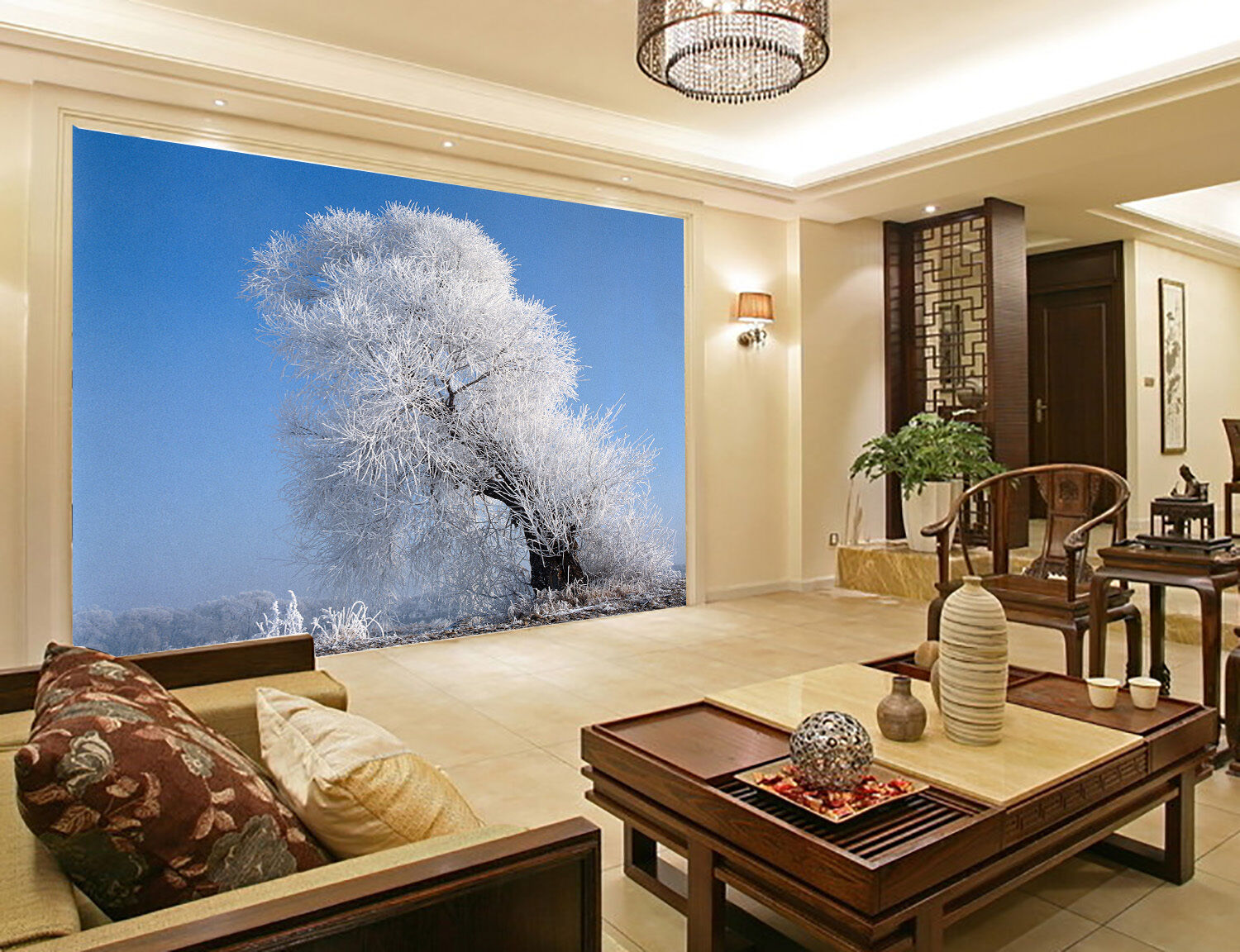 3D Ice Trees Paper Wall Print Wall Decal Wall Deco Indoor Murals