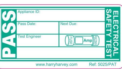 2000 2K PAT Testing Pass Electrical Test De Sécurité étiquettes autocollants vert grande taille
