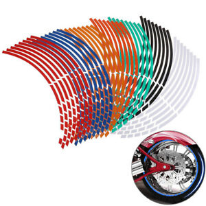 16 PCS Bike Wheel Stickers,MoreChioce Reflective Wheel Rim Stripe Sticker Tape Waterproof Reflector Stickers 18 Inches Wheel Styling Tape for Motorcycles Electric Car