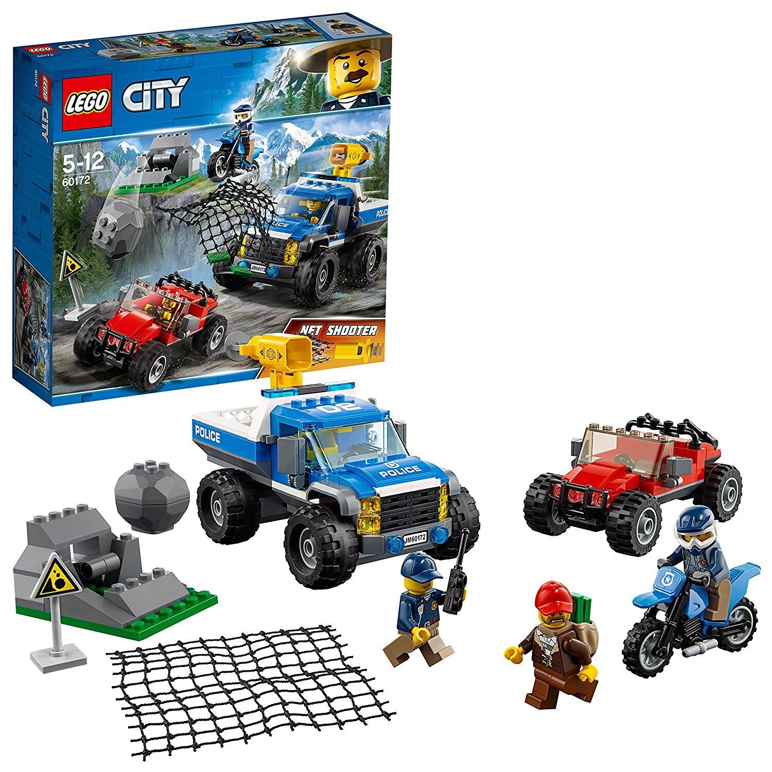 LEGO 60172 City Mountain Dirt Road Pursuit Police Building Set,Police 4 x 4 FAST