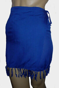 Blue-Mini-Half-Sarong-Size-10-12-Cover-Up-Short-Beach-Skirt-Wrap-Tassels