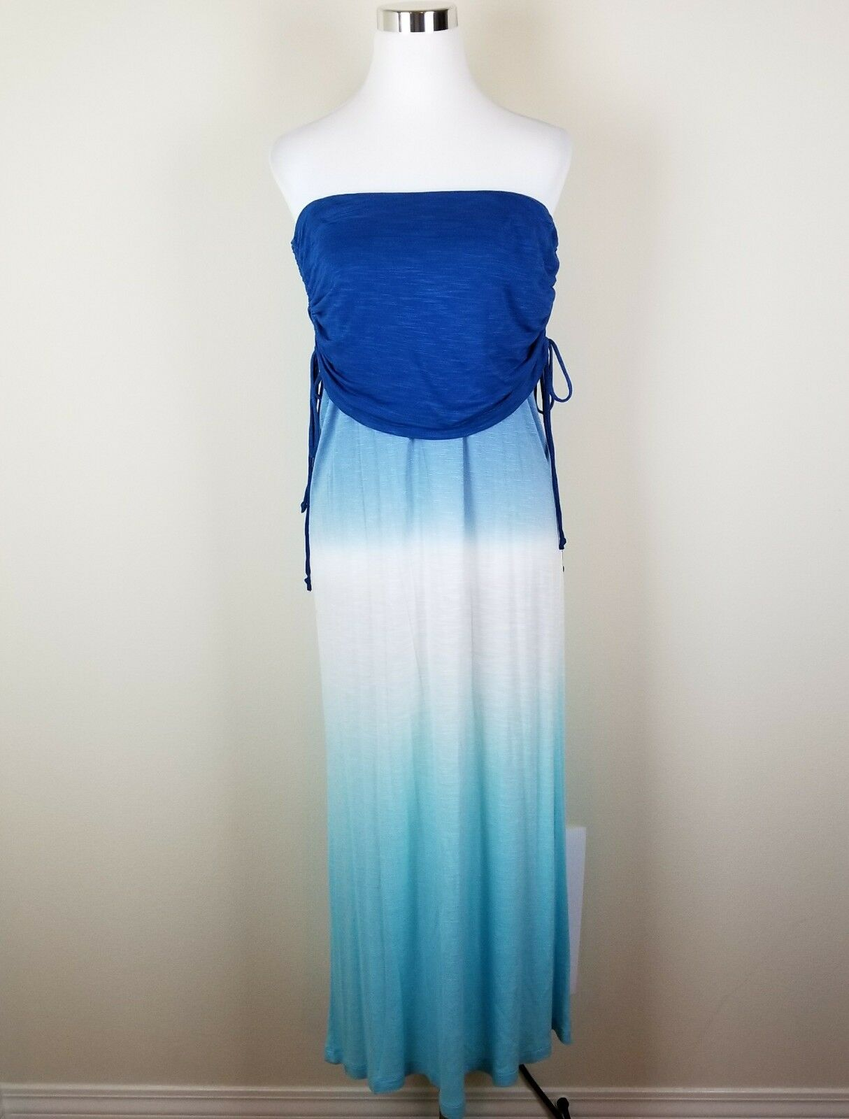 NWT  YOUNG FABULOUS & BROKE Sz M Strapless Popover Ruched Ombre Maxi C1379