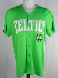 77e5b87bc1f5 Image is loading Boston-Celtics-Green-Button-Up-STARTER-Baseball-Jersey-