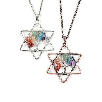 7 Chakra Natural Stone Pendant Reiki Healing Chip Bead Rainbow Life Tree Choose