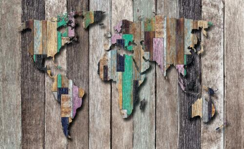 Photo Wallpaper Mural Non-woven 0100021D13 World Map on Colourful Boards