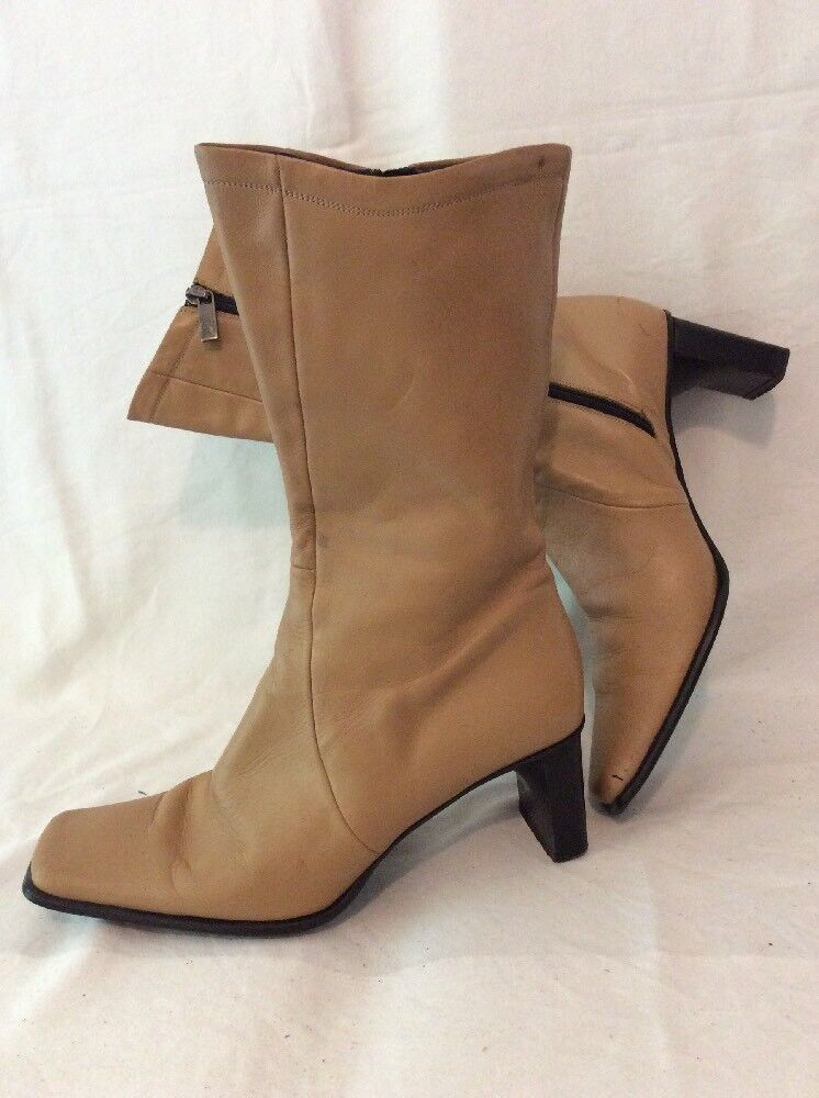Per Una Brown Mid Calf Leather Boots Size 4
