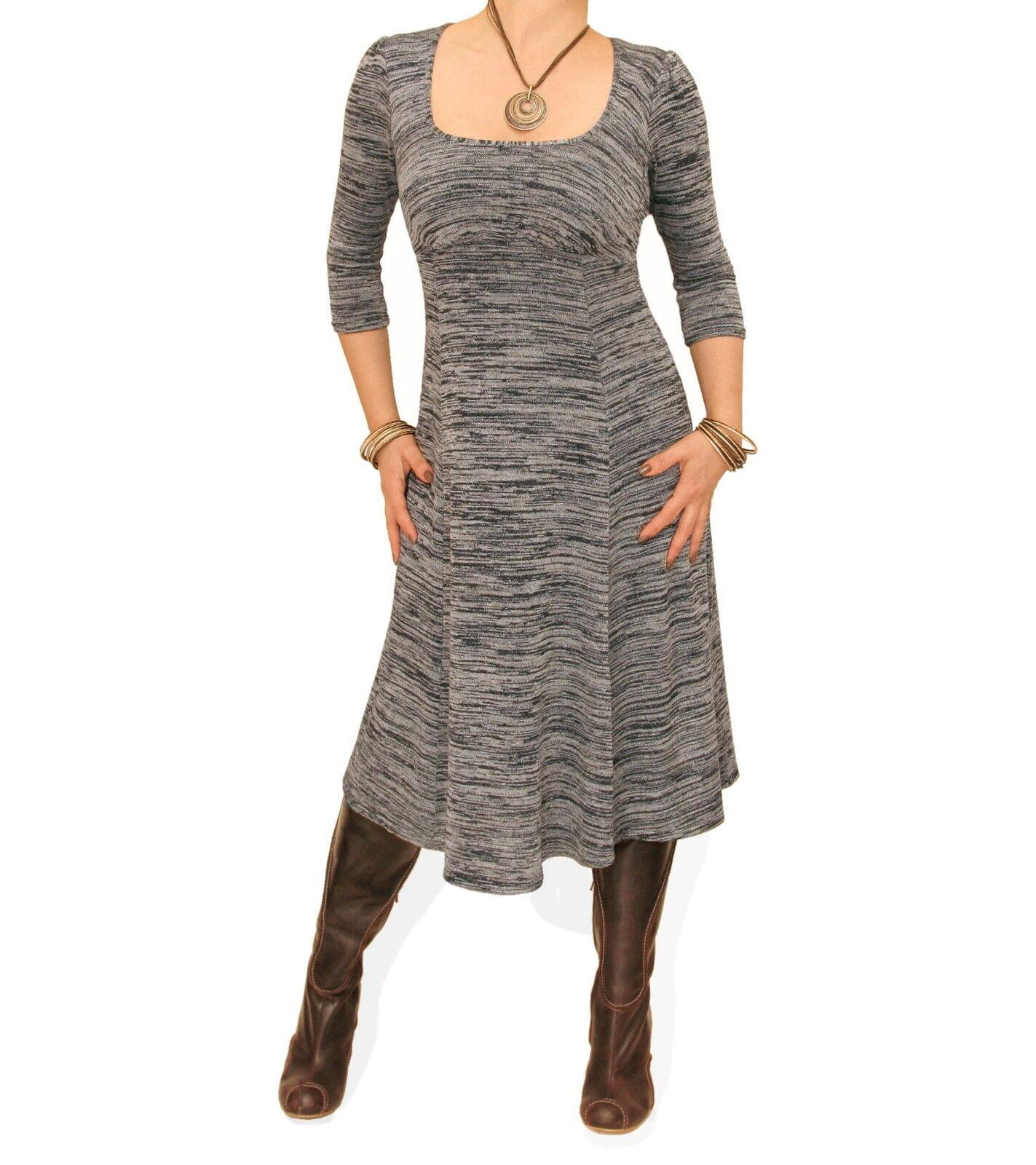 Blau Banana - New grau Marl Knit Fully Lined A Line Dress