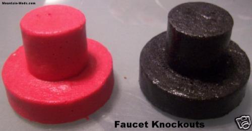 2 Countersunk Concrete Cement  Countertop Sink Faucet Knockout Plugs Pre-cast