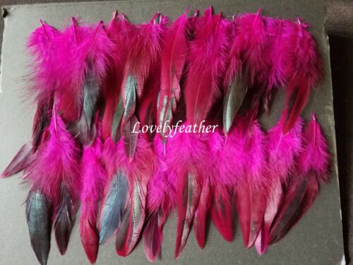100 Pcs hot pink irridescent coque feathers