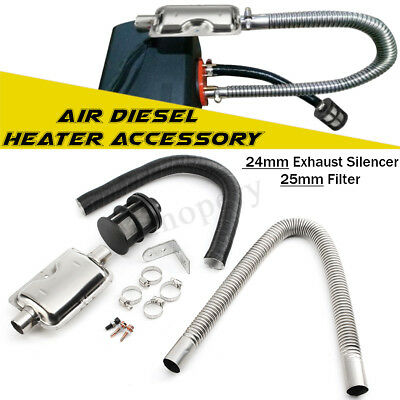 Pipe For Air Diesel Heater UK 24mm Exhaust Silencer+25mm Air Filter Accessory