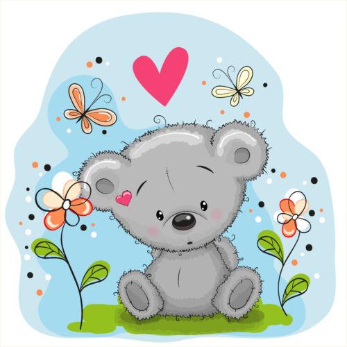 KB10 Bügelbild Bügeltransfer Aufbügler Sweet Teddy Wiese Sommer Love DIN A4 A5 Basteln & Kreativität