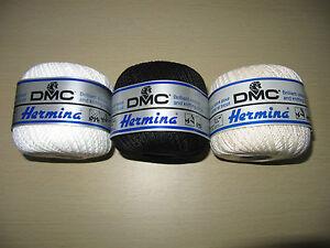 DMC-Art-991-Hermina-Brilliant-Crochet-Knitting-Cotton-50g-ball-White-Ecru-Black