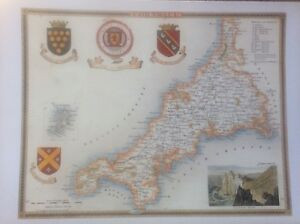 Map Of England To Colour.Details About Cornwall Antique Colour Map By Thomas Moule County Maps Of Old England 14