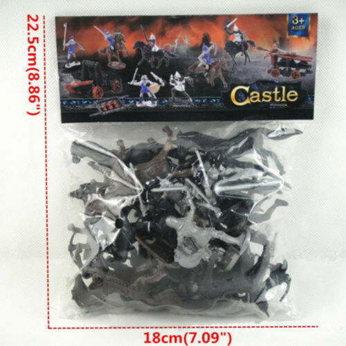 28PCS Medieval Knights Warriors Horses Soldiers Figures Models Play Set Kids Toy