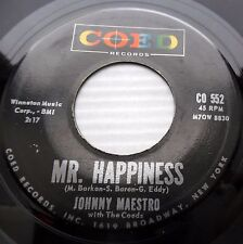 JOHNNY MAESTRO 45 with COEDS Test of love Mr. Happiness R&B doowop mg1105