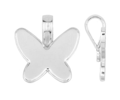 Silver 925 loop bail pendant Swarovski 2854 butterfly 18 mm bezel setting w44