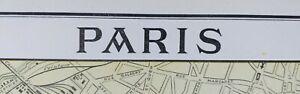 Vintage-1900-PARIS-FRANCE-Map-11-034-x14-034-Old-Antique-Original-EIFFEL-TOWER-LOUVRE